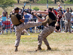 Combat display between two Marines with bayonets
