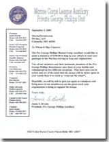 Letter from the President of the Pvt George Phillips Auxiliary