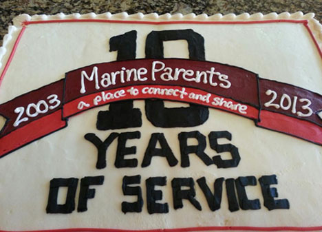 Marine Parents Ten Year Anniversary Cake
