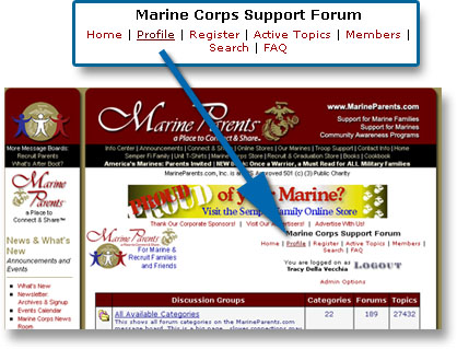 Image Example of how to change profile on MarineParents.com Message Board Communities