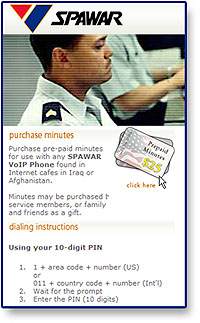 Spawar Calling Cards for Marines in Iraq and Afghanistan